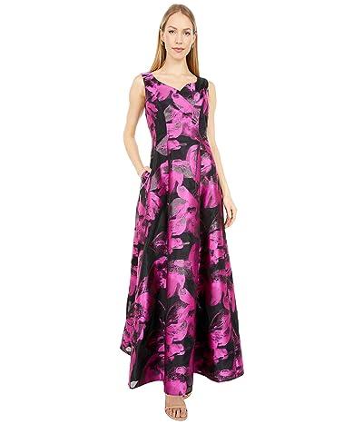 Tahari by ASL Organza Jacquard Sweatheart Neck Ball Gown (Black/Pink Organza) Women