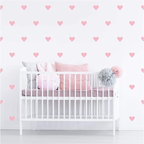 Hearts 4 Set Of 39 Self Adhesive Vinyl Wall Pattern Decal Sticker Wall Art Vintage Pink