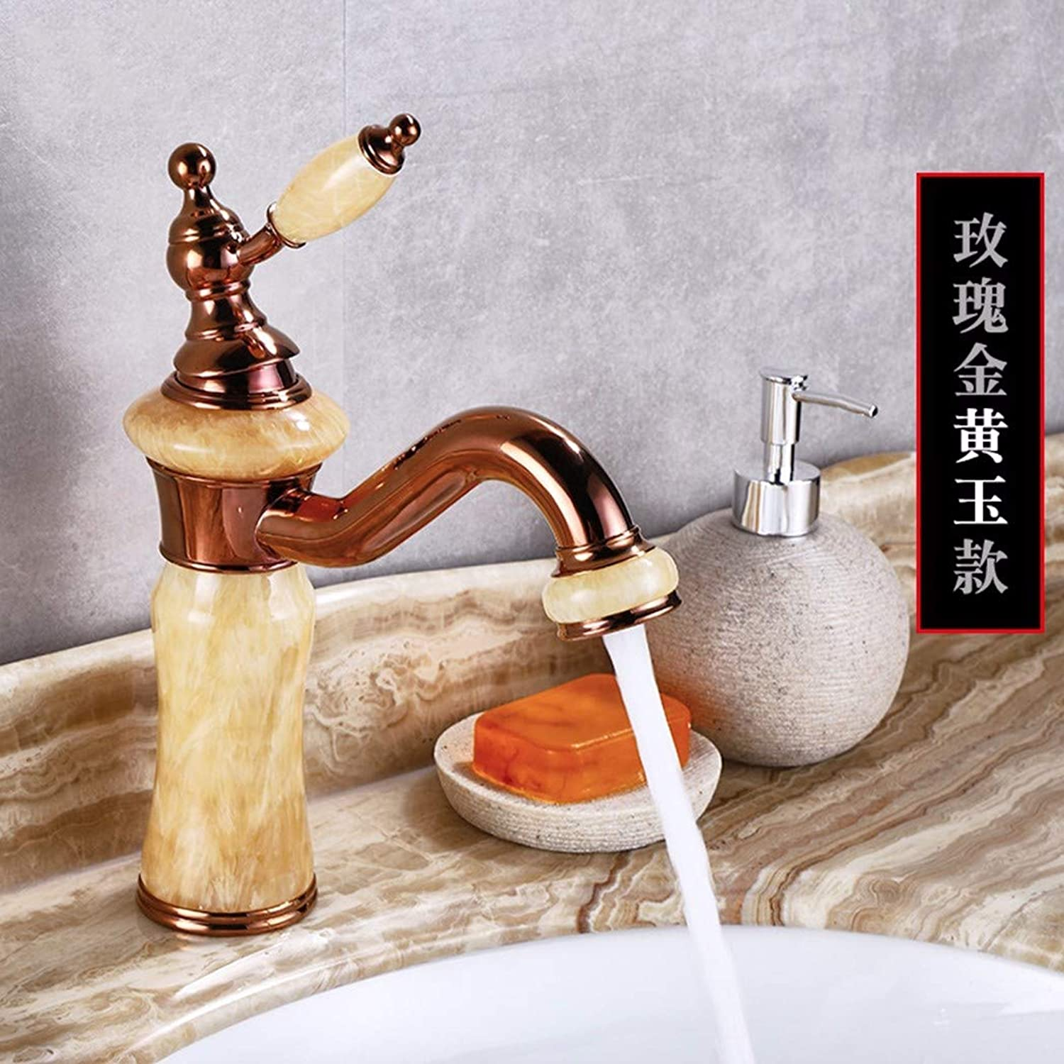 GiiWii Natural Jade Faucet Retro Copper redary Used in Bathroom Washbasin Cold and Hot Water Mixing,pink golden Yellow Jade