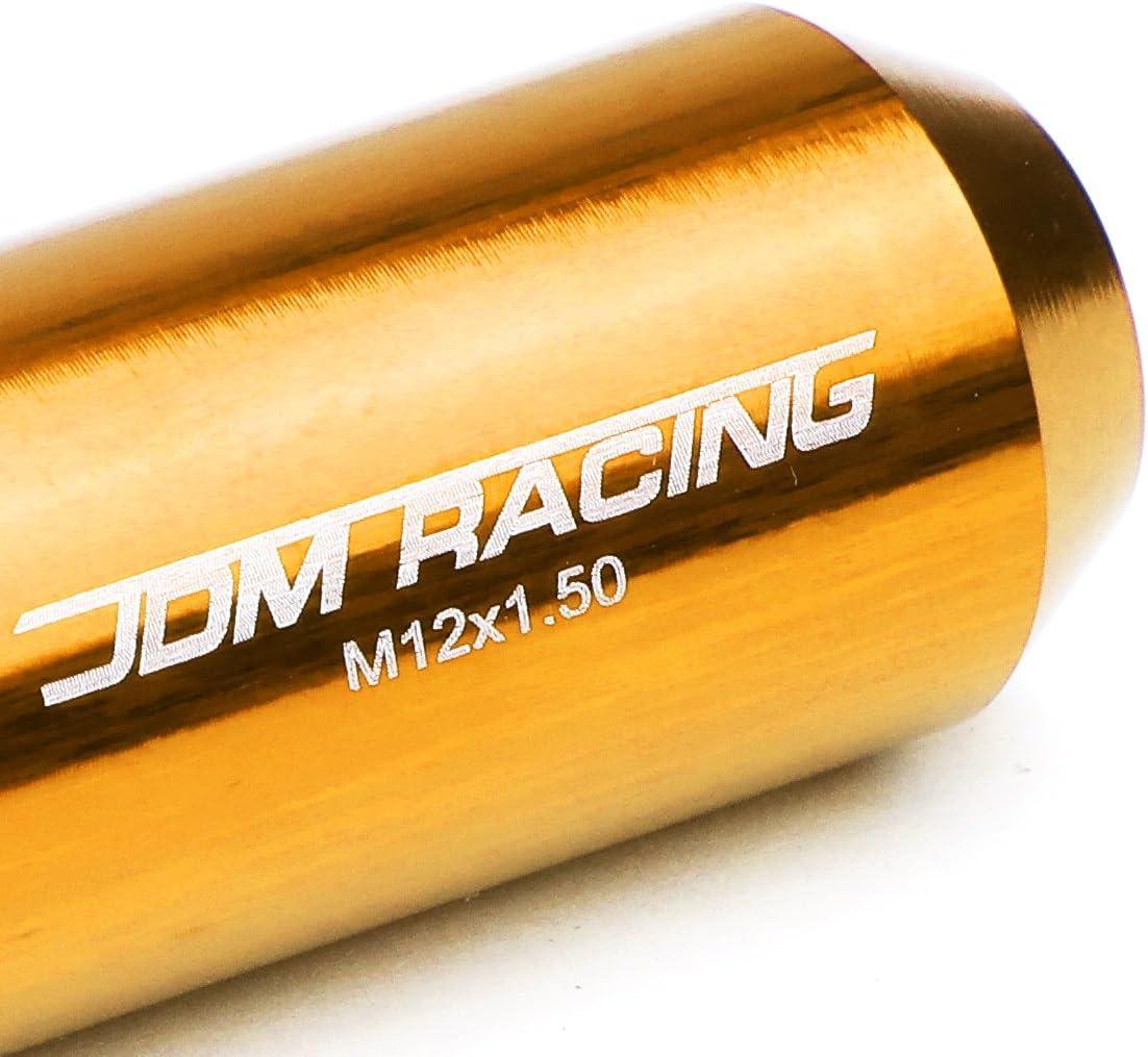 M12 x 1.5 Open End Design 16-Piece Anodized Aluminum Alloy Wheel Lug Nuts Gold 1 x Lock Nut Key 4 x Lock Nut