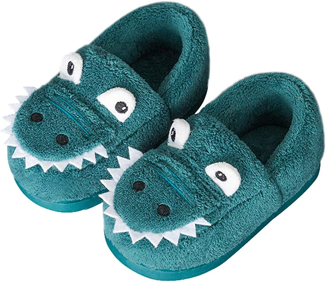 Boys Girls Warm Dinosaur House Slippers Toddler Kids Fuzzy Indoor Bedroom Shoes