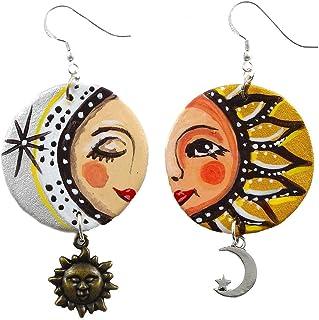 Orecchini in ceramica dipinti a mano – SOLE E LUNA CERAMICA - Orecchini pendenti da donna, Gioielli in ceramica dipinta, G...