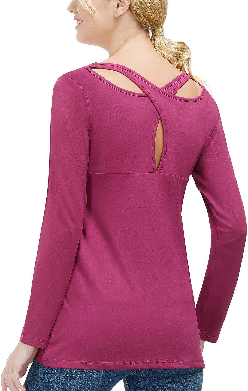 Womens Yoga Tops Long Sleeve Workout Shirts Casual Flowy Criss Cross Back Running Shirts