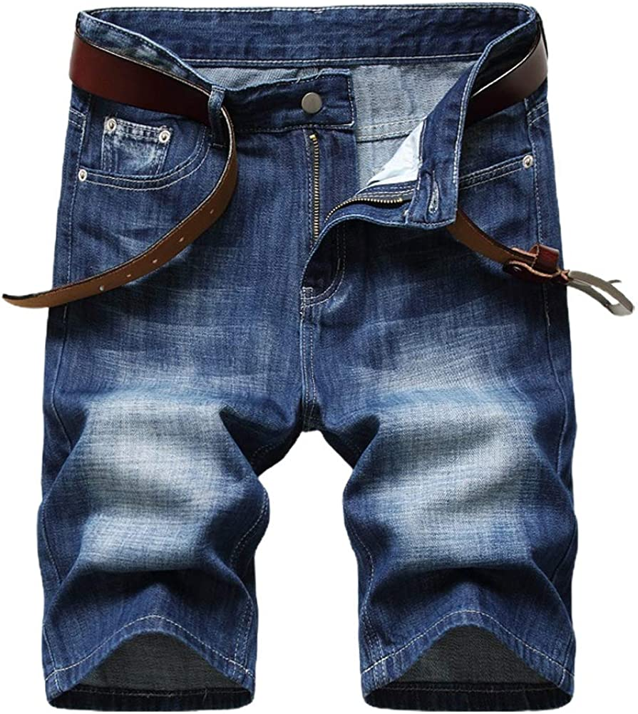 IDEALSANXUN Denim Shorts for Mens Ripped Straight Leg Jeans Shorts