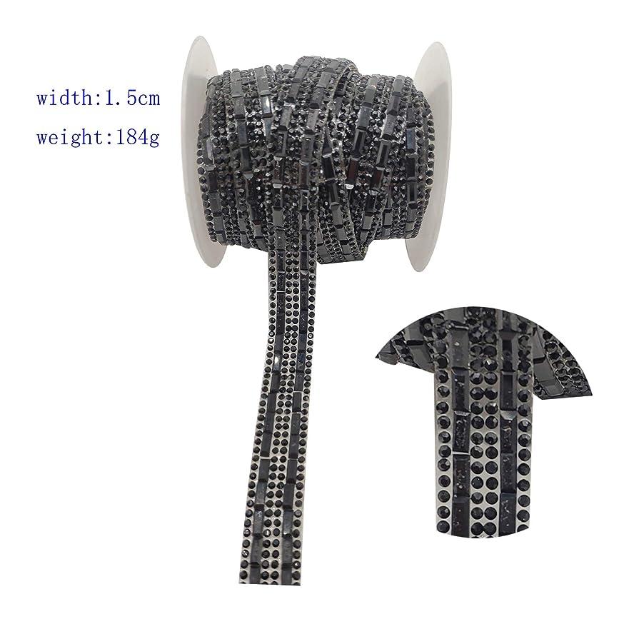 5.5Yards Diamond Rhinestone Close Chain Glass hot Pressing Drill Trim Sewing Craft Strip (Black)
