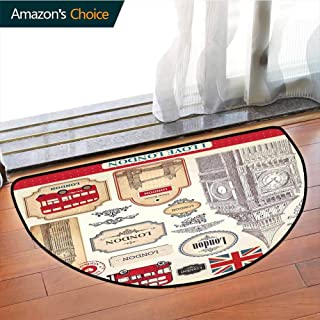 London Bathroom Semi-circular Carpet,Conventional British Characteristics Big Ben Red Bus Tower and Bridge Banner Printing Carpet,latest technology Rug,W27.5 x R15.7 Inches Red Ivory Sepia