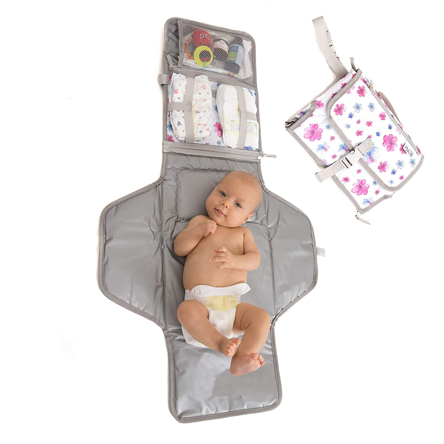 Baby Portable Changing Pad   Lightweight Travel Diaper Station Kit with Waterproof and Cushioned Pad   Foldable Pad with Pockets   Changing Organizer Bag for Toddlers Infants & Newborns   White