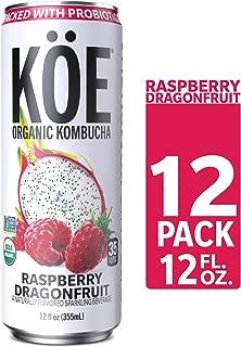 KÖE Kombucha | Sparkling Raspberry Dragonfruit | Packed with Probiotics | Vegan, Gluten Free, Non GMO Project Verified, USDA Organic, Kosher | 12oz. Cans (12 Pack)