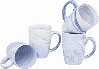 Culver 16-Ounce Palermo Ceramic Mug Set of 4 (White and Blue Marbleized)