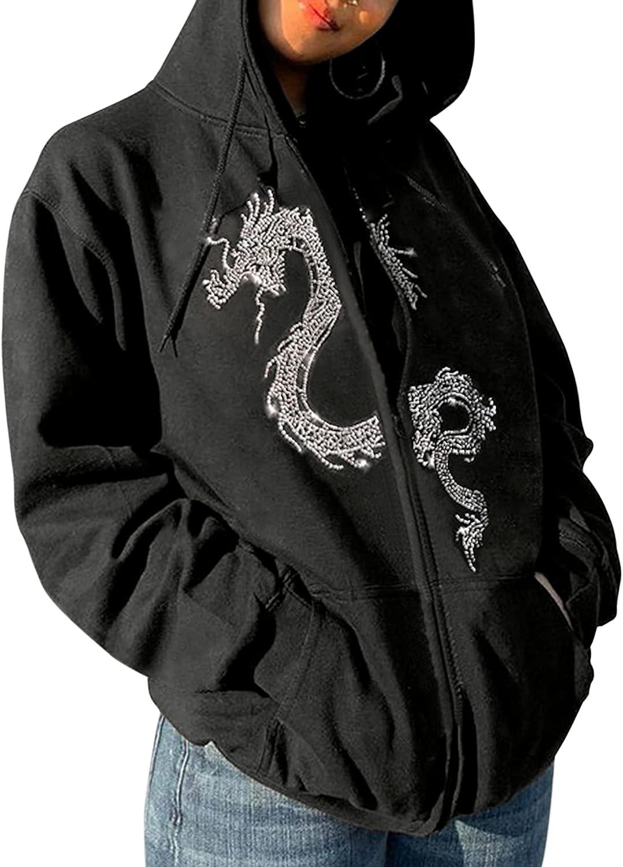 Meladyan Women Dragon Graphic Rhinestone Zip Up Oversized Hoodies Y2K Long Sleeve Drawstring Streetwear Sweatshirt Jacket Top
