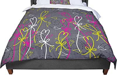 KESS InHouse Alison Coxon Painted Wild Roses Purple Pink Floral King Cal King Comforter 104 X 88