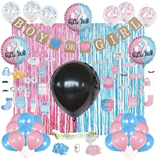 Gender Reveal Party Supplies - Photo Backdrop, Props for Booth, Big Black Reveal Balloon with Confetti, Boy or Girl Banner, Balloons with Ribbon, Mommy to Be Sash. Premium Baby Shower Decorations