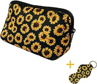 Sunflower Cosmetic Bag Large Waterproof Soft Neoprene Zipper Travel Portable Toiletry Makeup Organizer Case With Lip Balm Chapstick Holder Keychain �