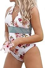 CUPSHE Women's Floral Halter Tie Deep V Neck One Piece Swimsuit