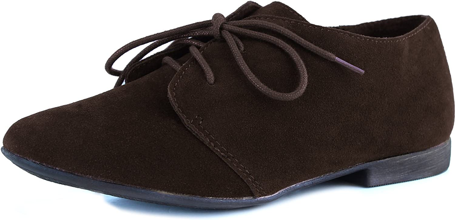 Easy Pickins Breckelles Classic Womens Basic Lace Up Flat Oxford Suede shoes
