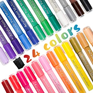 Paint Pens 24 Colors, POZEAN Paint Markers with 3-5mm Tip, Acrylic Paint Pens for Rock Paint, Ceramic, Wood, Fabric, Canva...