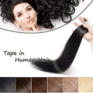 100% Remy Tape in Human Hair Extension 18'' Bonding Double Sided Tape Professional Long Straight Seamless Skin Weft Hair 20Pcs/50g (Natural Black #1B) + 10pcs Free Tapes