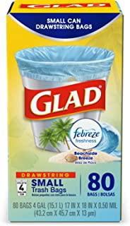 Glad OdorShield Small Drawstring Trash Bags, Febreze Beachside Breeze,4 Gal,80 Ct (Package May Vary)