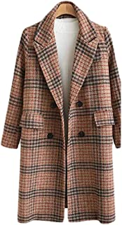 Womens Winter Pea Double Breasted Notched Lapel Long Plaids Trench Coat