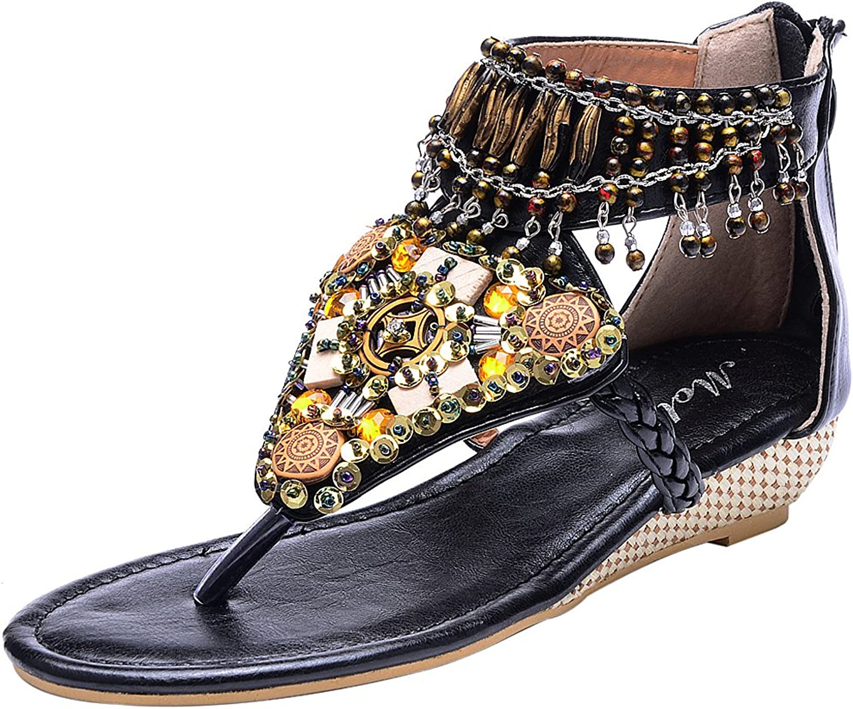 Odema Womens Bohemian Beaded Flat Beach Thong Sandals Wedges