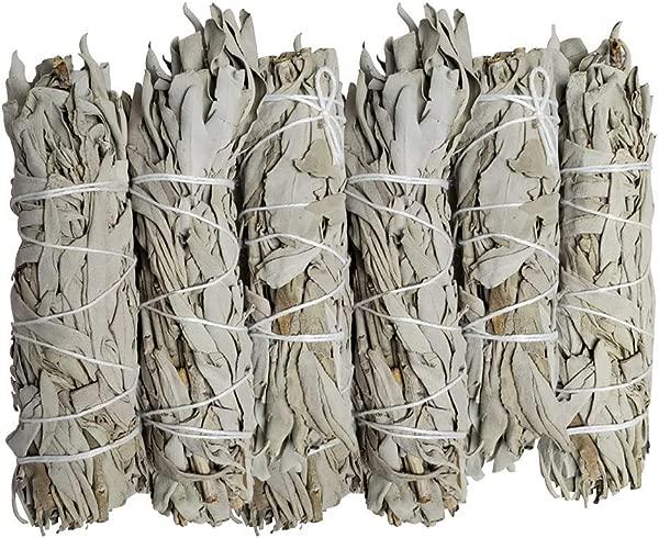 Vivally Naturals Premium California White Sage 4 Inch Smudge Sticks 6 Pack