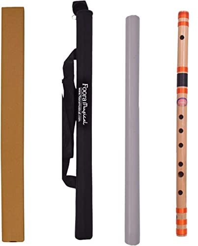 Foora® Musical Professional C Scale Flute Bansuri with Re-sham Thread Hand Made Bamboo Flute (48 cm) INDIA