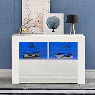 Panana Meuble TV LED en MDF avec 5 Compartiments de Stockage sur Salle de Séjour, Salon et Chambre à Coucher, 100 x 35 x 6...