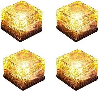 Horing Solar Glass Brick Light - Solar Ice Cube LED Light - Crystal Brick Stone Lamp Garden Courtyard Pathway Patio Pool, Decorative Christmas Festives Ice Rock Cube Lights (4PCS Warm White)
