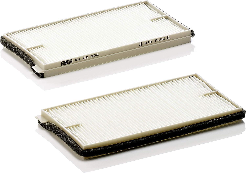 Original MANN-FILTER Filtro de habitáculo CU 22 002-2 – Paquete de filtros de habitáculo (set de 2) – para automóviles