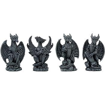"Small Collector Faux Stone Warrior Dragon Gargoyles Figurine Set of Four 4""Tall"