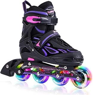 2PM SPORTS Vinal Kids Adjustable Inline Skates with Light up Wheels, Fun Flashing Illuminating Roller Skates for Boys Girls