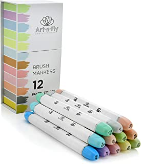 Professional Brush Tip Markers Set of 12 Pastel Colored Manga Markers for Drawing Sketching Illustration - Tones of Blue Purple Green Pink Brown Orange Yellow Gray