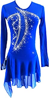 LIUHUO Blue Ice Figure Skating Dress for Girls Women Backless Long-Sleeved Beaded Dresses