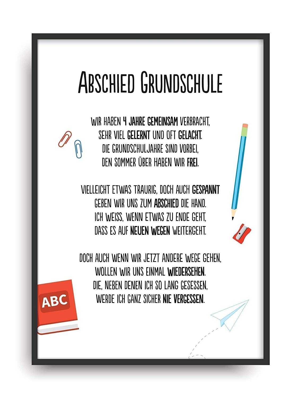 Geschenk Karte ABSCHIED GRUNDSCHULE Kunstdruck Schule Lehrer ...