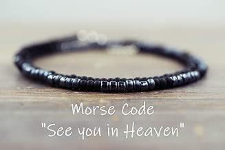 MENS See you in Heaven Morse Code Bracelet for Men Memorial Jewelry