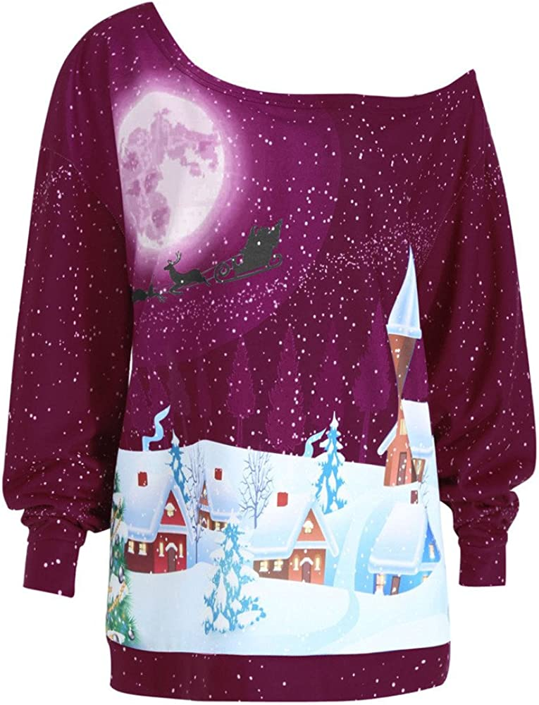 STORTO Women Christmas Plus Size Tops,Snowy Evening Print Off Shoulder Pullover Party Blouse