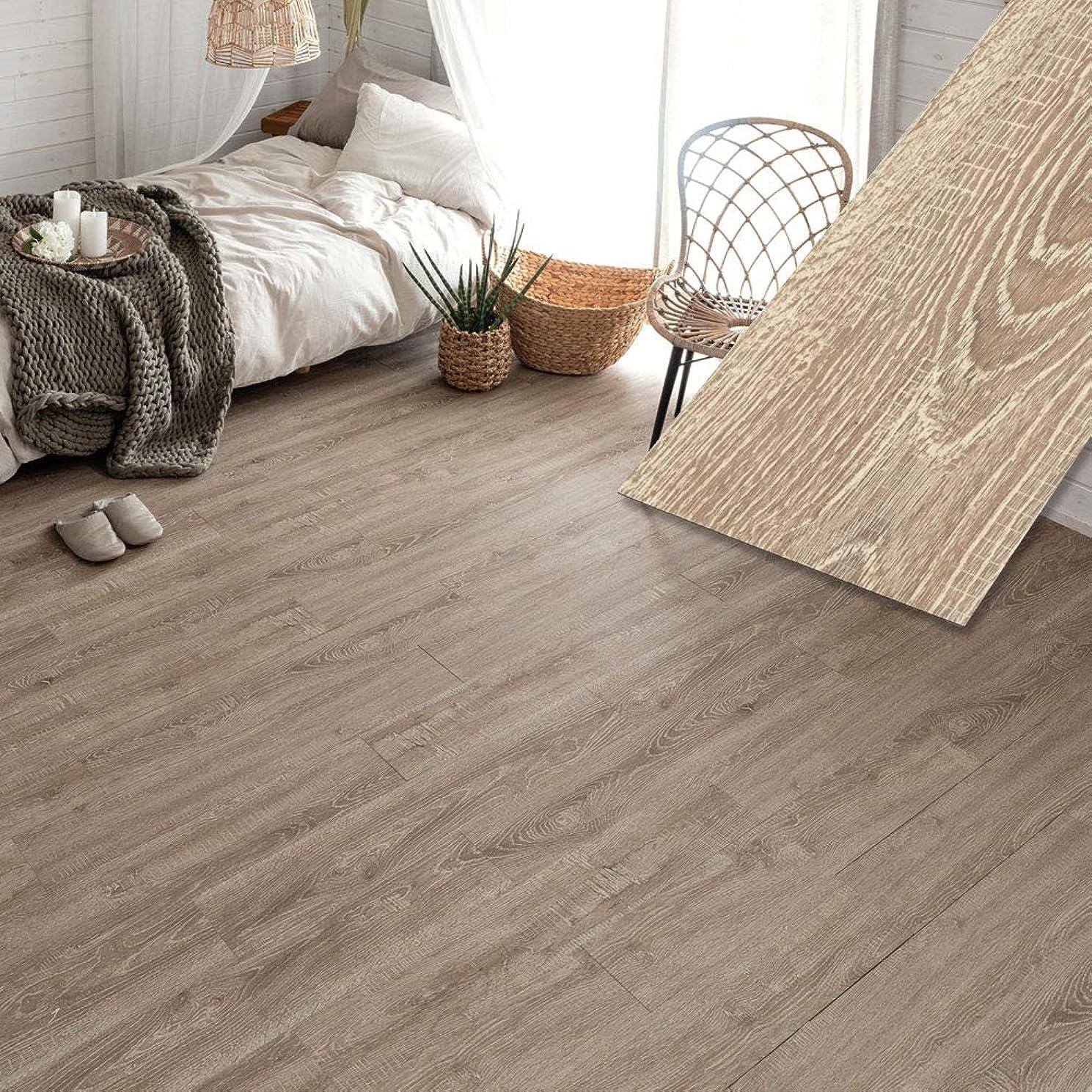 個人大西洋ジョリーフロアタイル 貼るだけ フローリングタイル [36枚セット/ヘーゼルオーク] 約3畳分 古材風 木目調 接着剤付き DIY 床材 簡単 フロアーマット