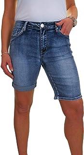 icecoolfashion Pantaloncini Jeans in Denim Elasticizzato con Polsino Arrotolabile da Donna 40-50