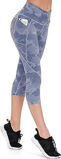 ALONG FIT Damen Mesh Yoga Leggings mit Seitentaschen Bauchko