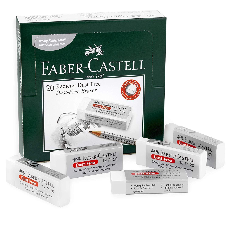 Faber-Castell sin Polvo Comodidad Borde Borrador Cauchos - Blanco ...