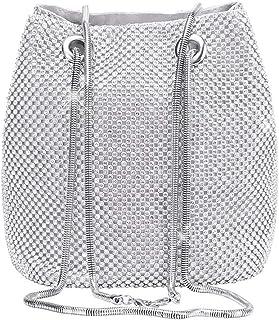 Women's Evening Bag- Full Rhinestones Mini Bucket Bag Shining Crossbody Bag Shoulder Bag for Party Wedding Date Night