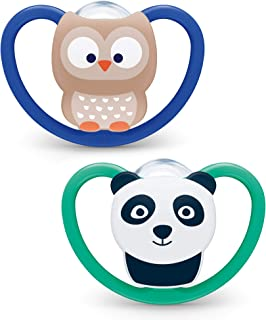 NUK Space Baby Dummy | 6-18 Months | Soothers with Extra Ventilation | BPA-Free Silicone | Owl & Panda | 2 Count