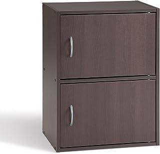 Alsapan Cube Meuble de Rangement 2 Portes Rangement d'Appoint Salon Chevet Chambre Wengé 40 x 29 x 54 cm