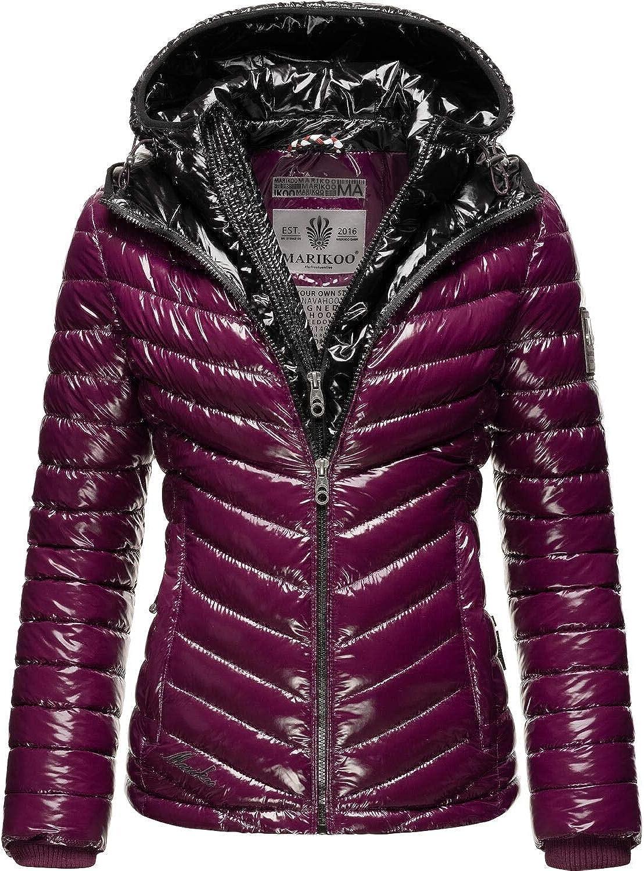 Marikoo Damen Winterjacke Steppjacke im Metallic Look mit doppelter Kapuze Lennjaa XS-XXL Aubergine/Black