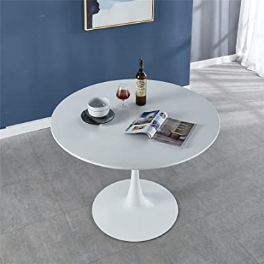 """FMD 42"""" White Tulip Round Dining Table Metal Pedestal Base Mid-Century Modern Coffee Leisure Table"""