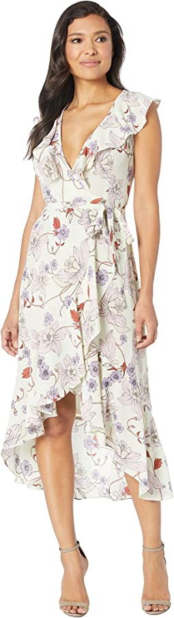 Sleeveless Printed Chiffon Wrap Dress
