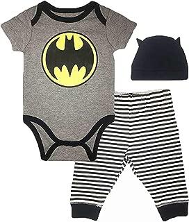 Infant Boys Batman Clothing Set - DC Comics Batman Short Sleeve Bodysuit, Pants and Hat Set