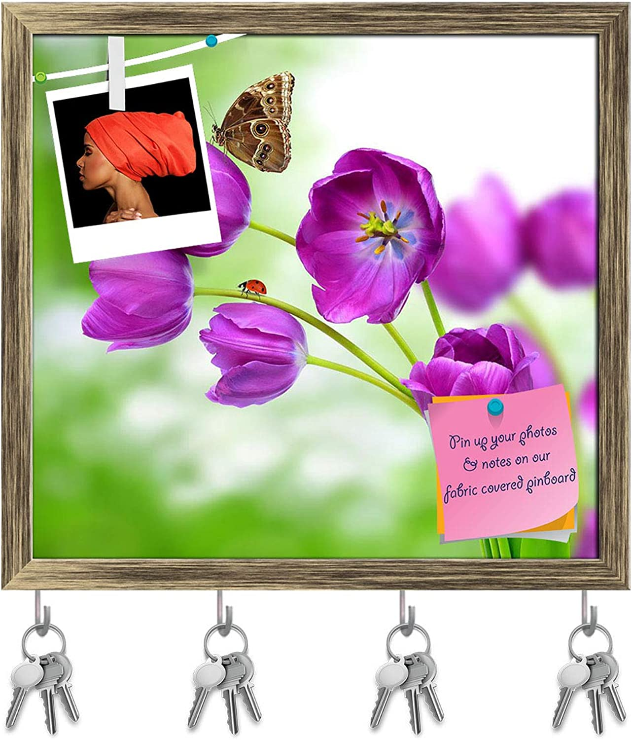 Artzfolio Fresh Purple Tulips with Butterfly Morpho Key Holder Hooks   Notice Pin Board   Antique golden Frame 17.2 X 16Inch