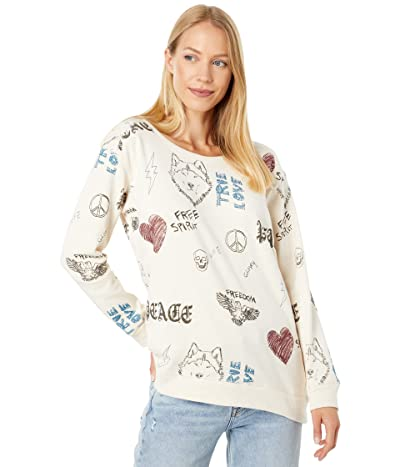 Chaser Scribble Scrabble Long Sleeve Crew Neck Pullover