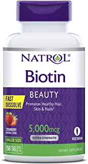 Natrol Biotin Beauty Fast Dissolve Tablets, Promotes Healthy Hair, Skin & Nails, Helps Support Energy Metabolism, Helps Co...